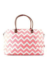 Canvas Chevron Large Tote Bag Overnight Travel Luggage Duffel Beautiful Coral