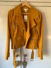 9979e0469c Bnwt H&m Premium Mustard Yellow Suede Leather Biker Jacket Sold Out Uk 12