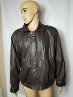 Vintage Members Only Bomber Jacket Leather Coat Mens Size Large Dark Brown