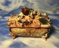 Vintage Golden Acorn Accessories Ceramic Covered Dish Fall Box Leaves GUC As Is