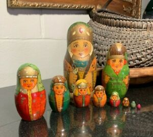 Russian Orthodox Style Matryoshka Wood Hand Painted Nesting Dolls Soviet Union