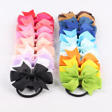 10pcs Boutique Hair Band Rope Bow Girls Baby Grosgrain Ribbon Elastic Headband