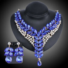 Fashion 18K Gold Plated Blue Crystal Wedding Party Necklace Earring Jewelry Set