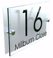 Contemporary HOUSE SIGN / PLAQUE / DOOR / NUMBER / GLASS EFFECT ACRYLIC