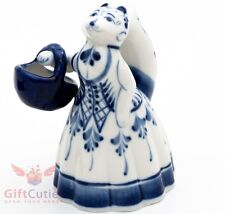 Gzhel Porcelain Figurine Fox with a basket