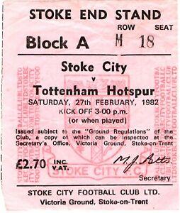 TICKET STUB - STOKE CITY v TOTTENHAM - 27/02/1982