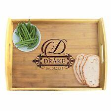 Custom Engraved Wood Bamboo Serving Tray -Personalized Housewarming Wedding Gift