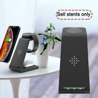 3 in 1 Wireless Charging Charger Dock Stand For iPhone Black