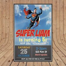 Personalised DIGITAL SUPERMAN SUPERHERO Kids Party Invites Invitations YOU PRINT