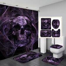 Purple Black Skull Shower Curtain Bath Mat Toilet Cover Rug Bathroom Decor