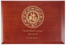 Lunar Serie II Münzbox /  Box / Münzkassette für 12x 10 Oz Silber -Holz (Hund...