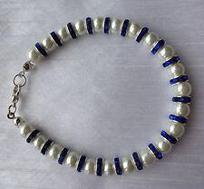 Handmade Rhinestone Silver Plated Beaded Costume Bracelets