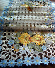 """Embroidery Table Runner Cut work lace Sunflowers Daisy Blue 54"""" by 16"""" summer"""