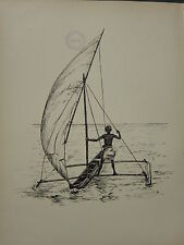 1936 SAILING SHIP PRINT ~ A DOUBLE-OUTRIGGER FROM ZANZIBAR