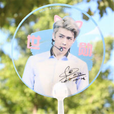 Portable KPOP EXO Sehun PVC Transparent Hand Fan Summer Handmade Cute