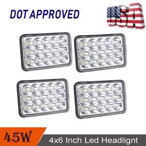"4PCS 4""x6"" Led Light Bulb Crystal Clear Sealed Beam Headlamp Headlight 45W"