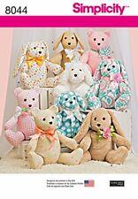 "Simplicity Sewing Pattern 8044 Stuffed Animals Teddy Bear Dog Rabbit 14"""