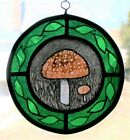 Stained Glass, Hand Painted, Kiln Fired, Mushroom, #1012-01