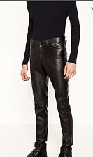 New ZARA MAN SYNTHETIC LEATHER TROUSERSVWITH ZIPS PANTS SIZE 31