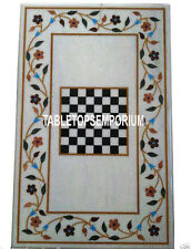4'x2' White Marble Chess Board Dining Center Table Marquetry Inlay Work Decor