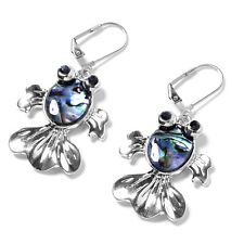 Dragonfly Fashionable Earrings Fish Hook Sparkling Crystal Abalone Shell