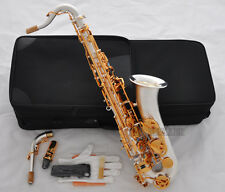 Professional SATIN SILVER C Melody Saxophone sax High F# ABALONE Key Free 2 Neck