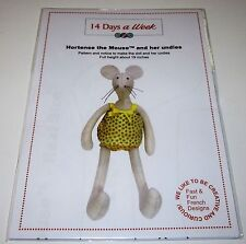 """HORTENSE THE MOUSE 19"""" STUFFED TOY DOLL fabric sewing pattern"""