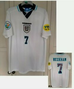 England Euro 1996 Retro 96 Shirt Jersey BECKHAM 7# HOME SIZE LARGE