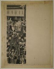 Dibujo Original Antiguo Tinta Ilustración Escena de tipo LUIS TOUCHAGUES 1937