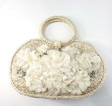 Vintage Womens Classic Cream Floral Woven Straw Round Handle Japan Made Handbag