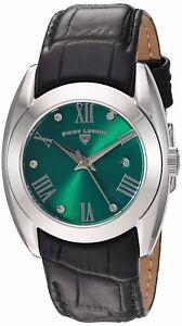 Swiss Legend Women's Silver Case Green Dial Black Strap Quartz Watch 10550-08