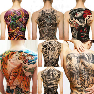 Large Full Back Chest Dragon Wolf Hindu Floral Rock Temporary Fake Tattoo Body