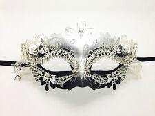 Laser Cut Metal Venetian Masquerade Womens Mask Silver Black w/Rhinestones