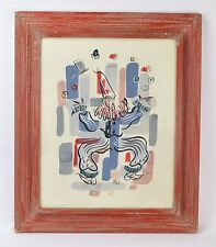 Vintage Mid-Century Modern Abstract Juggling Clown Gouache Painting signed Ali