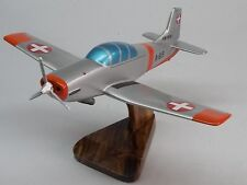 P-3 Pilatus Swiss Air Private P3 Airplane Desktop Kiln Dry Wood Model Small New