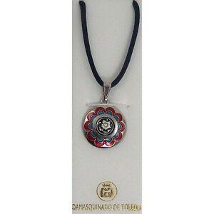 Damascene Silver & Enamel Round Flower Pendant Necklace by Midas of Toledo Spain