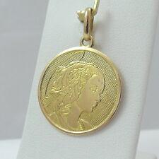 18K Gold Disc Madonna Mary Mother of God Medal Charm Pendant 5gr