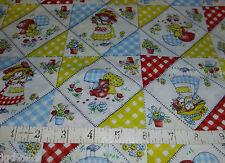 "Cotton Novelty Fabric Girls Flowers Chipmunk Mushroom Gingham 1 Yd x 34"" W Quilt"