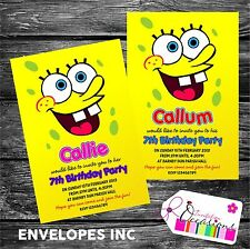 Personalised Birthday Invitations Spongebob Squarepants x 5