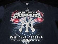 NEW YORK YANKEES 2009 WORLD CHAMPIONS MENS Adult MEDIUM M Navy Shirt