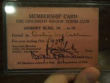 Vintage Membership Card Cincinnati Indoor Tennis Club 1928