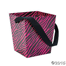 Cardboard Hot Pink Zebra Buckets with Ribbon Handle - 6 Pieces