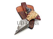 UD CUSTOM HANDMADE 1095 DAMASCUS STEEL  FULL TANG HUNTING KNIFE 464