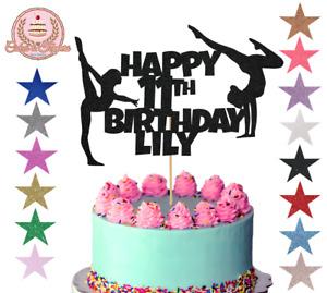 Gymnast gymnastics cake topper glitter custom personalised any name any age