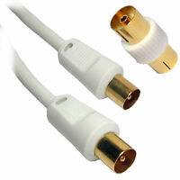10m LONG RF Fly Lead Coaxial Aerial Cable TV Male to M Extension GOLD WHITE