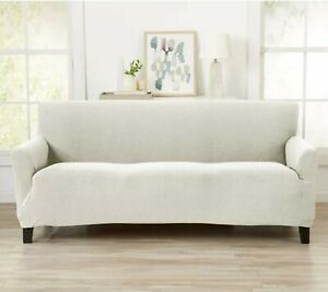 """Great Bay Home 1 Piece Stretch Textured Sofa Slipcover in Ivory - Fits Sofa 96""""W"""