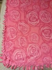 Fleece Handmade Soft Tie Blanket Oversized Baby Throw Approx 50X60 Pink roses