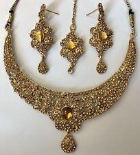 Indian Bollywood Jewelry Jhumka Tikka Kundan Jhumka Earrings Necklace Set USA