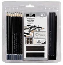 Pieza 21 bosquejado & Dibujo conjunto artista carbón Sticks & Lápices Goma rart200