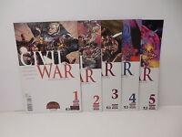 Civil War Marvel Comic Books 1-5 Leinil Yu Art Iron Man Captain America Battle